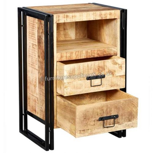 Cosmo Industrial 2 Drawer Side Table /Chest