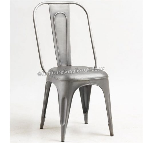 Cosmo Industrial Grey Metal Chair x2
