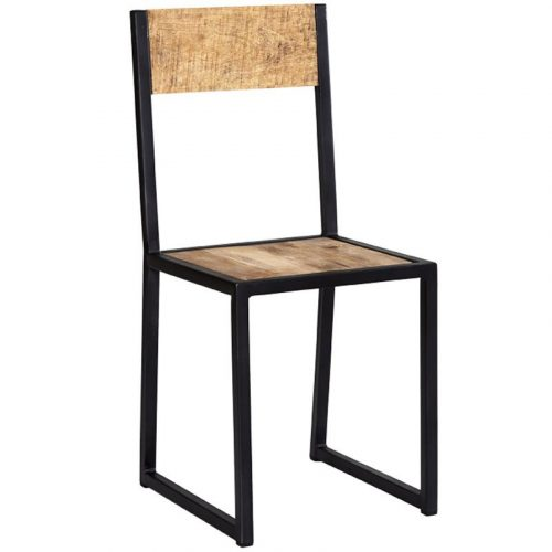 Cosmo Industrial Metal & Wood Dining Chair x2