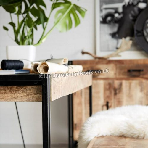 Cosmo Industrial Metal & Wood Dining Table - Large