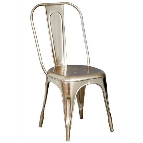 Cosmo Industrial Silver Metal Chair x2