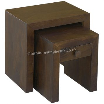 Dakota Dark Mango 1 Drawer Nest of Tables