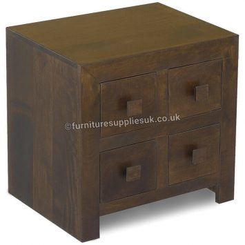 Dakota Dark Mango 4 Drawer Bedside Unit