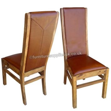 Divine Real Leather Dining Chairs x2 (Red)