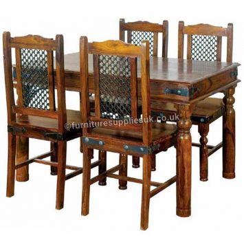 Ganga Range Jali Small Dining Table With 4 Chairs