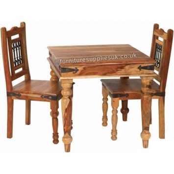Light Jali 80cm Dining Table 2 Chairs Solid Sheesham Wood