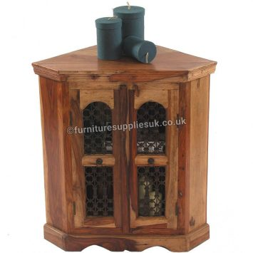Light Jali Corner Cabinet