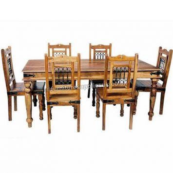 Light Jali Large Dining Table 6 Chairs 175cm Solid Sheesham Wood