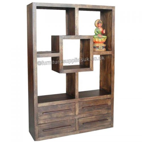 Yoga Straight Bookcase With 4 Drawers Walnut Colour.