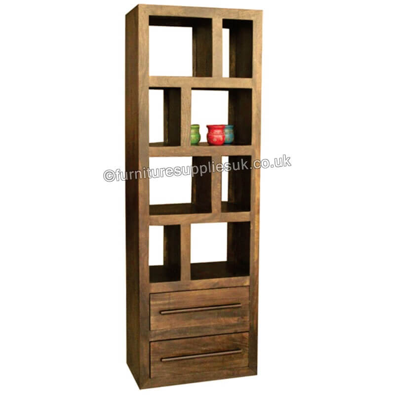 Yoga Tall Bookcase With 2 Drawers Walnut Colour.